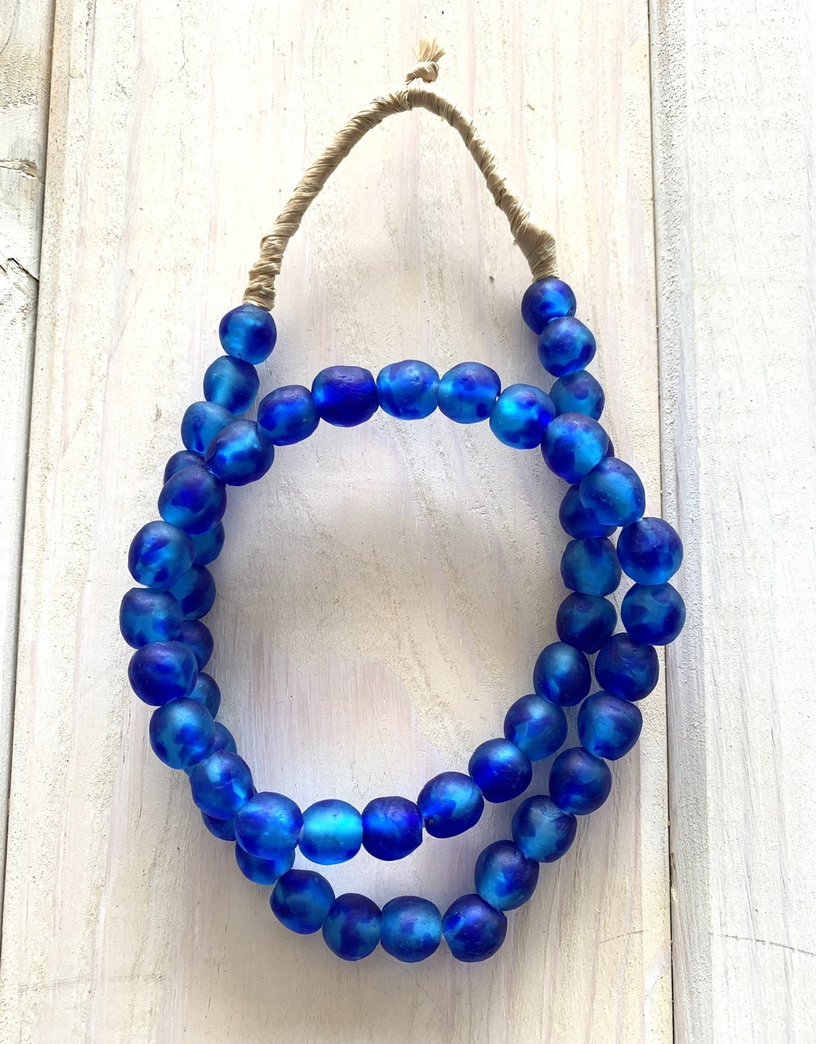"Ghana Recycled Glass 10mm Neon Blue 25""Necklace"