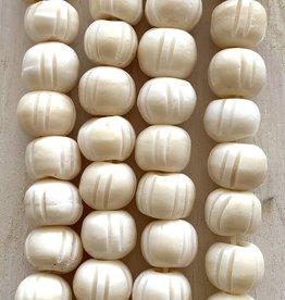 10mm Bone w/Lines Large Hole Cream Bead Strands