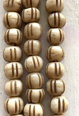 10mm Bone w/Lines Large Hole Butterscotch Bead Strands