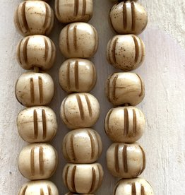 10mm Bone w/Lines Large Hole Butterscotch Bead Strands