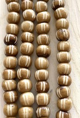 10mm Bone w/Lines Large Hole Mocca Bead Strands