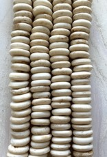 10mm Bone Saucer Cream Large Hole Bead Strands