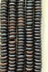 10mm Bone Saucer Dk Chocolate Large Hole Bead Strands