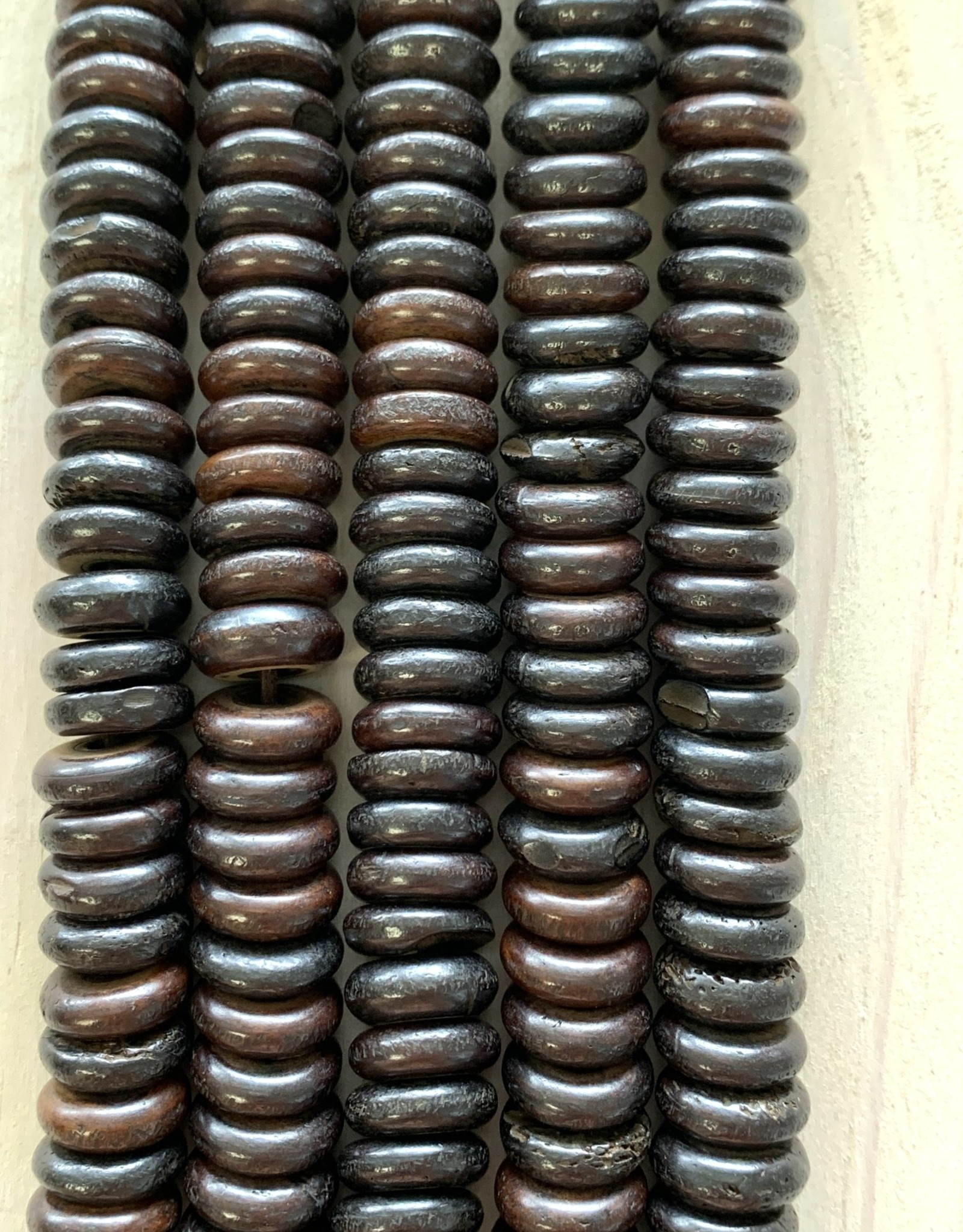 10mm Bone Saucer Dk Chocolate Large Hole Bead Strands