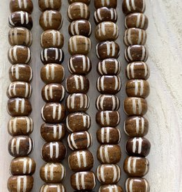 8mm Carved Bone Ginger Large Hole Bead Strands