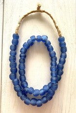 """Ghana Recycled Glass 10mm Blue 22"""" Necklace"""