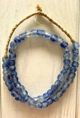 """Ghana Recycled Glass 10mm Blue Swirl 24"""" Necklace"""