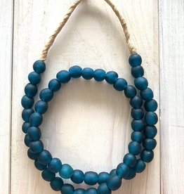 "Ghana Recycled Glass 10mm Teal Blue 25"" Necklace"