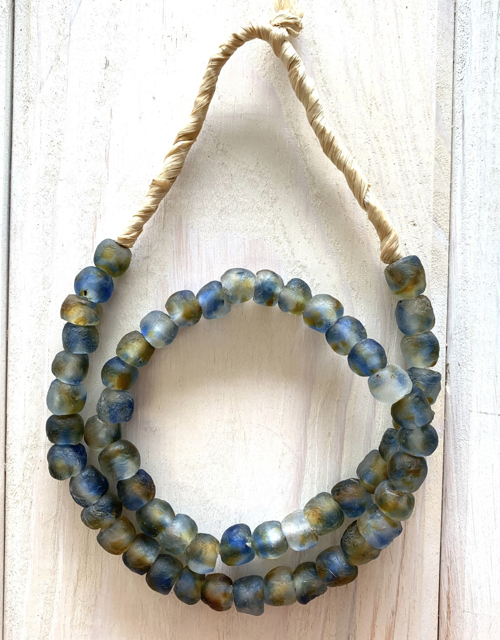 "Ghana Recycled Glass 10mm Mottled Blue 22"" Necklace"