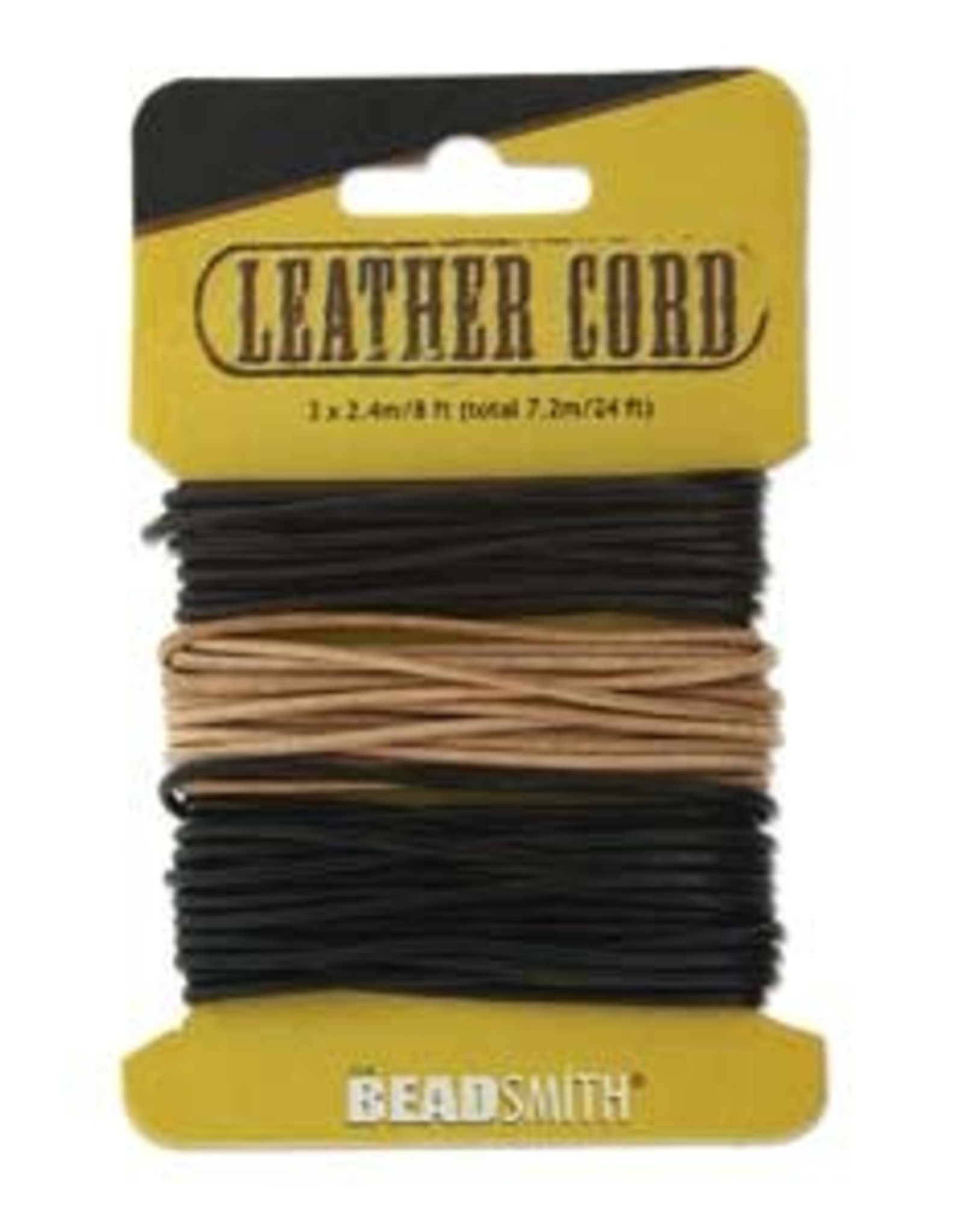 1.5 Leather - Tan, Brn & Blk 24ft on Card