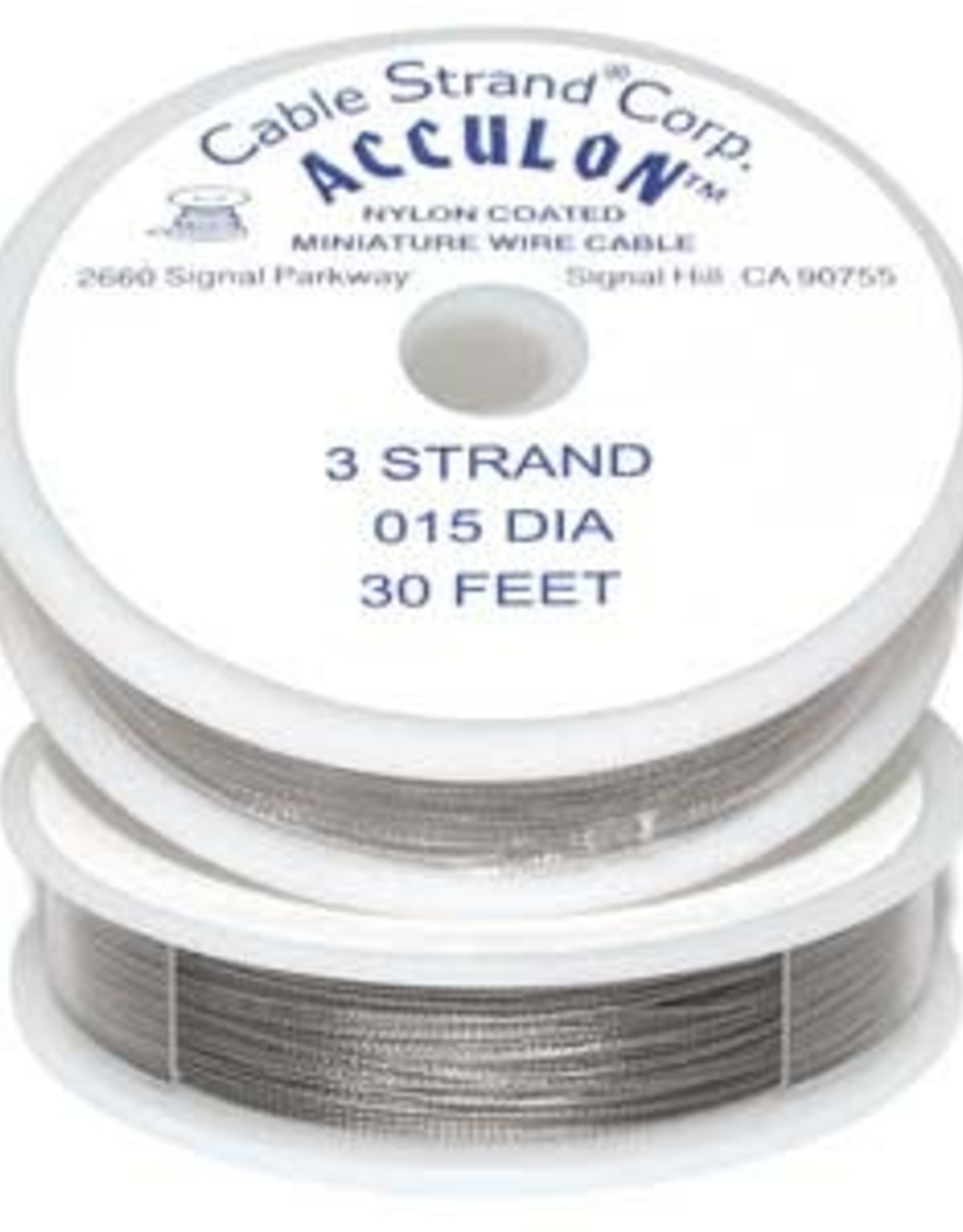 """.015"""" Tiger Tail Acculon 3 Strand Bead Wire 30ft"""