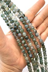8mm Round Moss Agate Strands