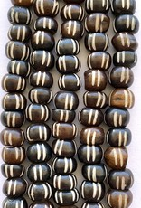 8mm Carved Bone Coffee Large Hole Bead Strands