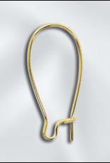 1'' Kidney Earwire Gold Plate, Qty 12