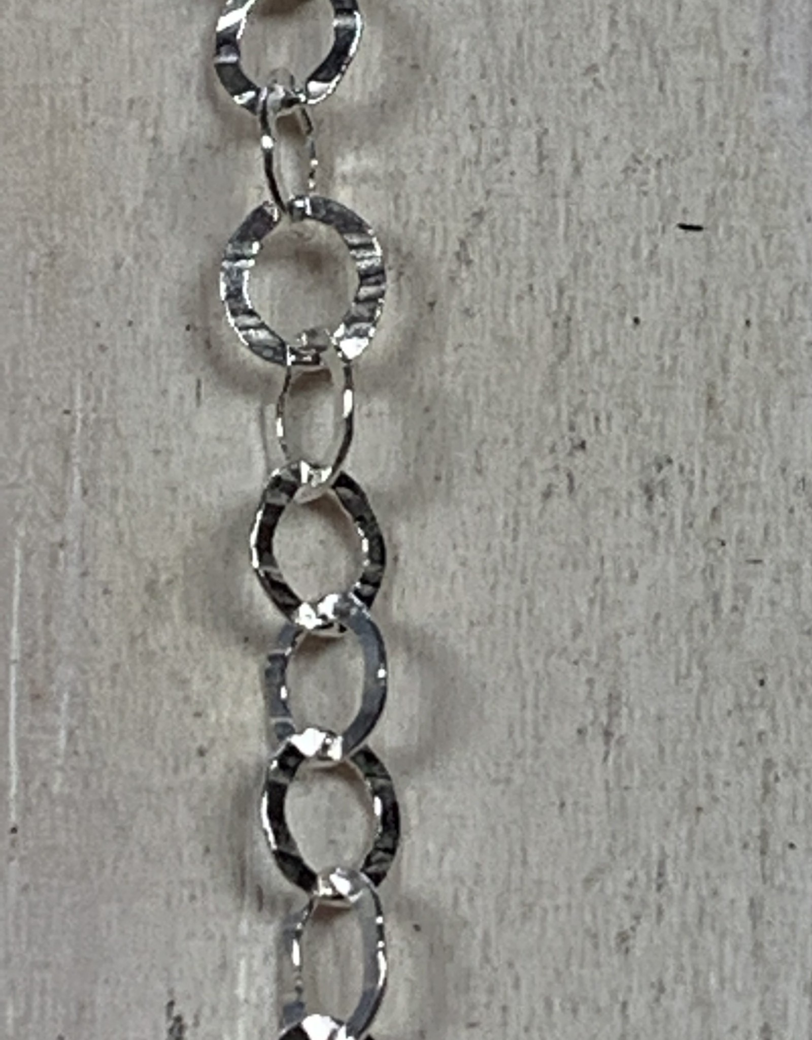 3.5x4mm Text Oval Chain Sterling Silver Inch
