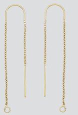 """3"""" U Center Threader Earrings 14k Gold Filled Pair"""