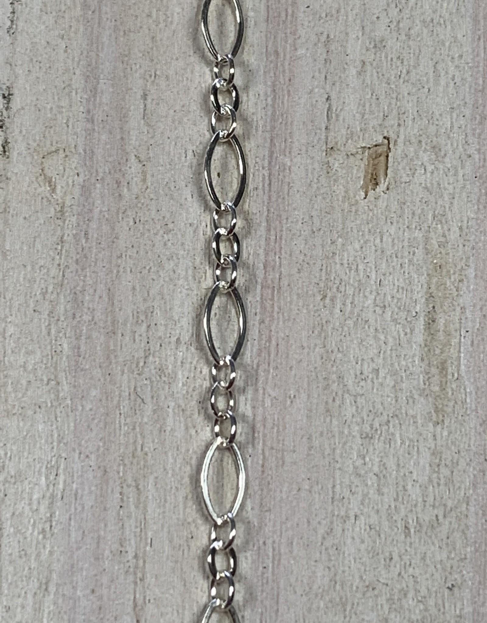 4.5 x 2.5mm Long Short Sterling Silver Inch