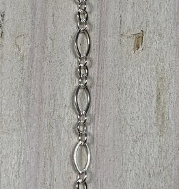 4.5 x 2.5mm Long Short Sterling Silver Inch
