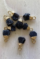 Black Druzy Nuggets Electroplated Charm Gold