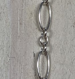 7.5 x 3.5mm Long & Short Chain Sterling Silver Inch