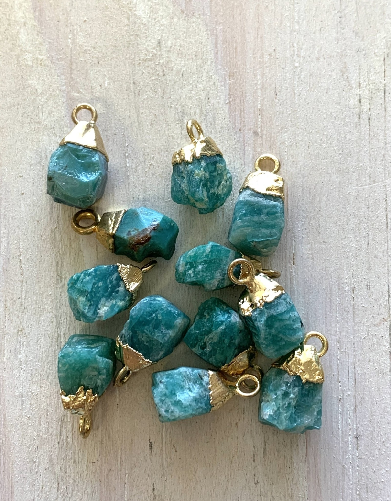 Tiny Point Charms Amazonite Gold