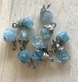Tiny Point Charms Aquamarine Silver