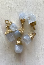 Tiny Point Charms Crystal Quartz Gold