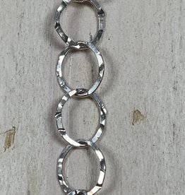 Large Round Hammered Chain Sterling Silver Inch