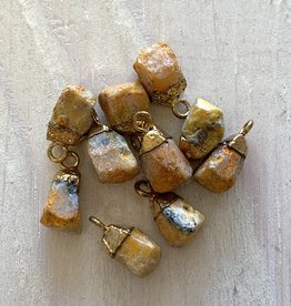 Tiny Point Charms Bumble Bee Jasper Gold