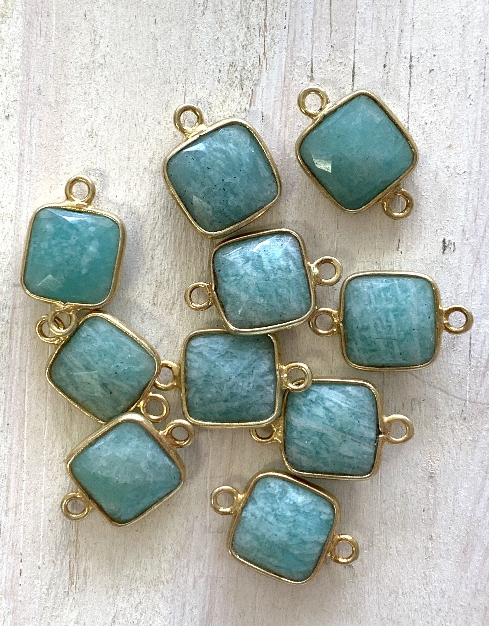 Square Amazonite Connector Gold