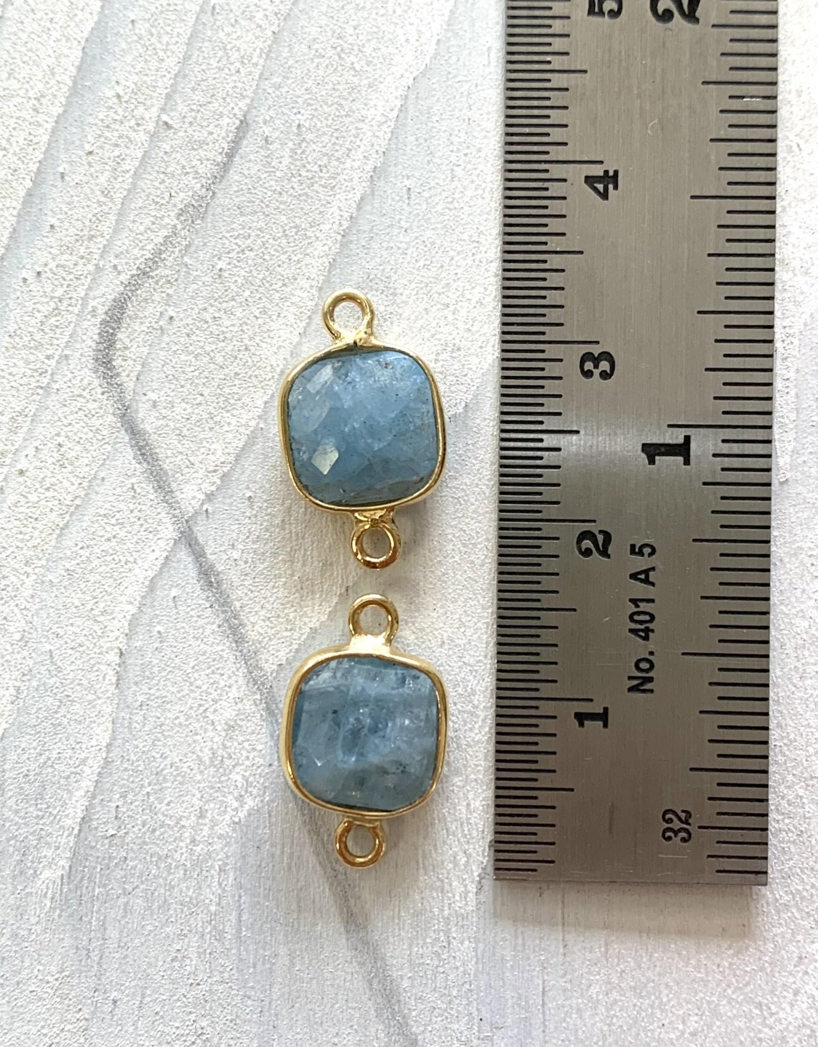 Square Aquamarine Connector Gold