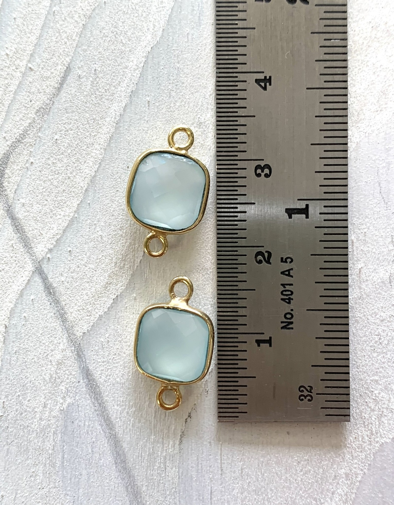 Square Chalcedony Connector Gold