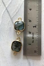 Square Labradorite Connector Gold
