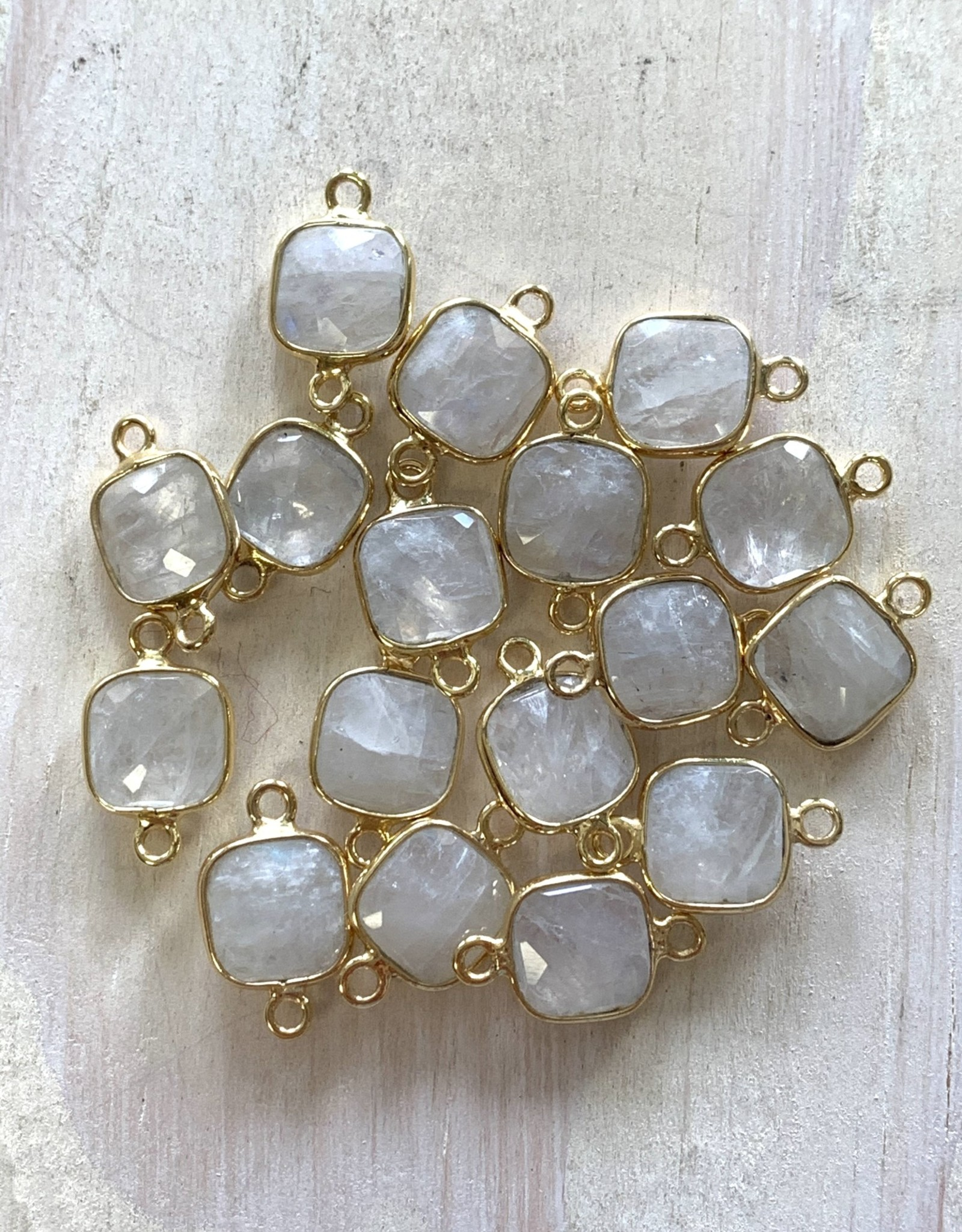 Square Moonstone Connector Gold