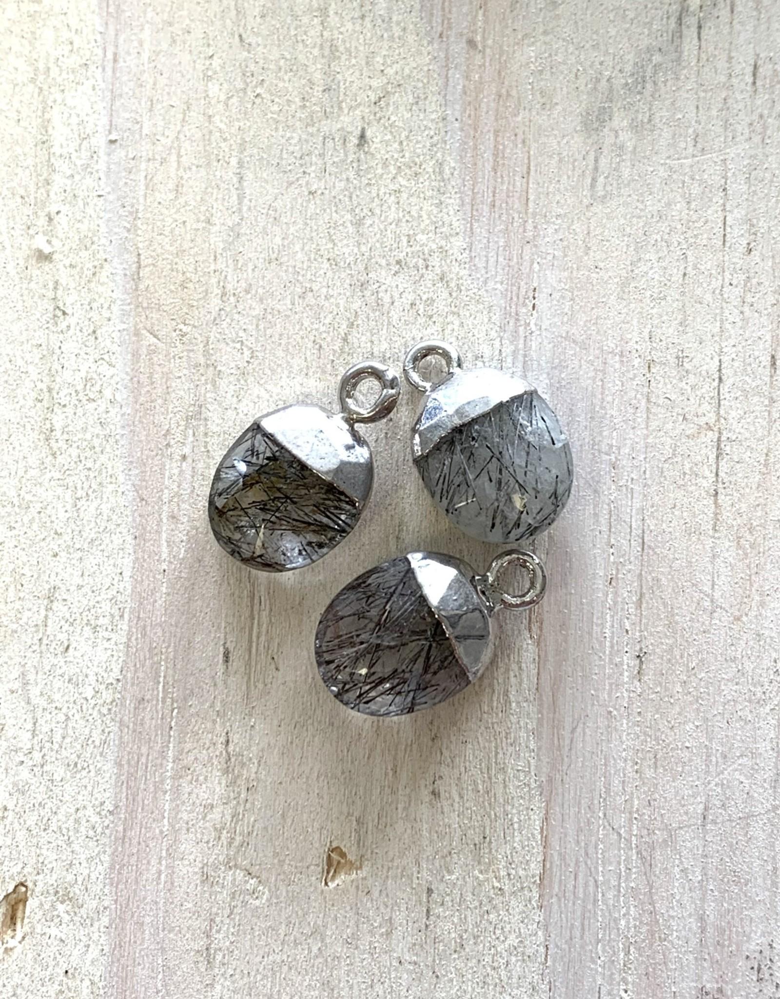 Rutilated Quartz Oval Drops Silver
