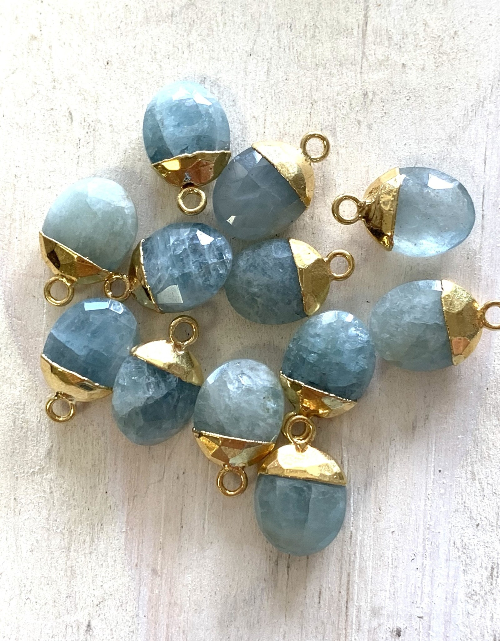 Aquamarine Oval Drops Gold