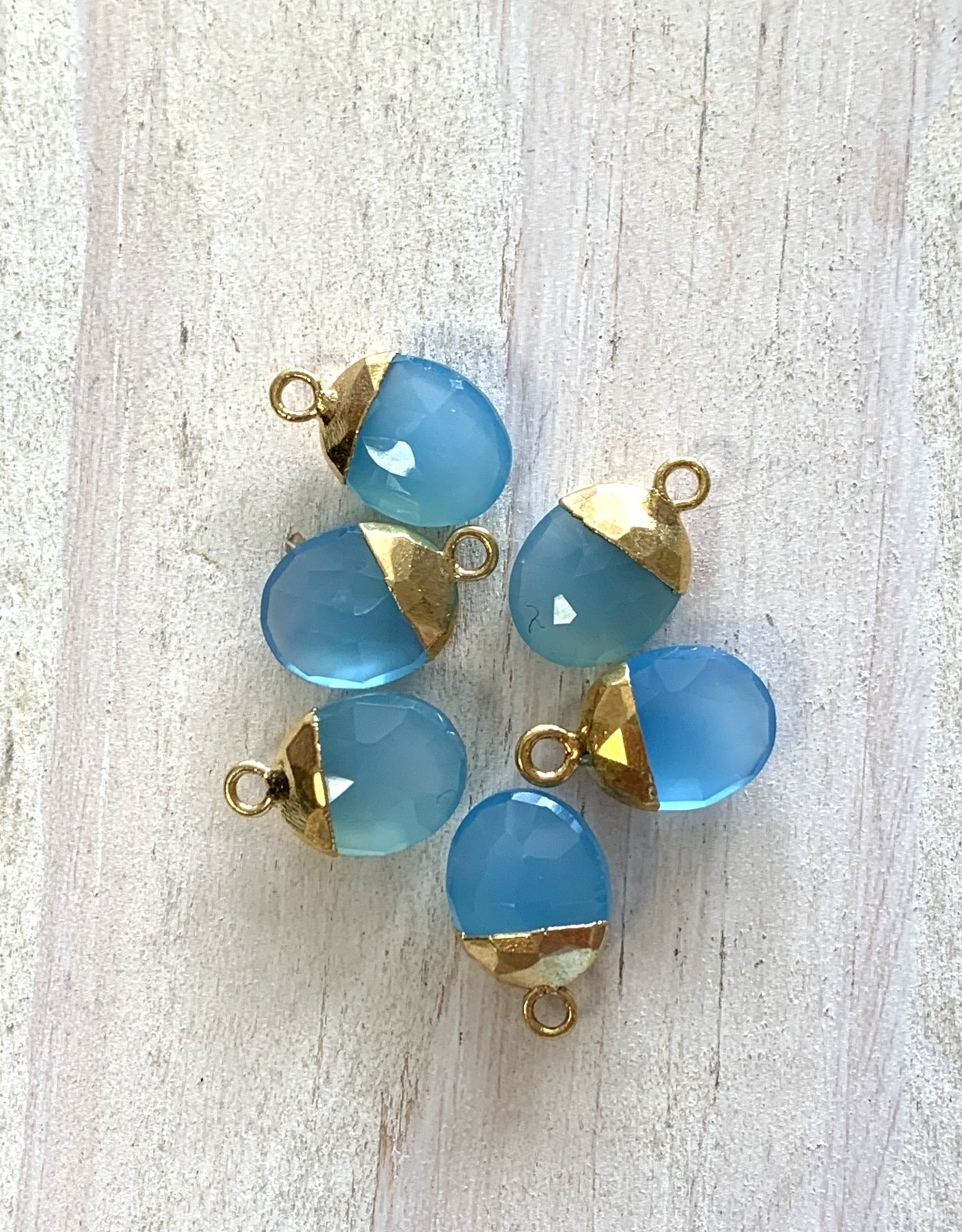 Chalcedony Oval Drops Gold
