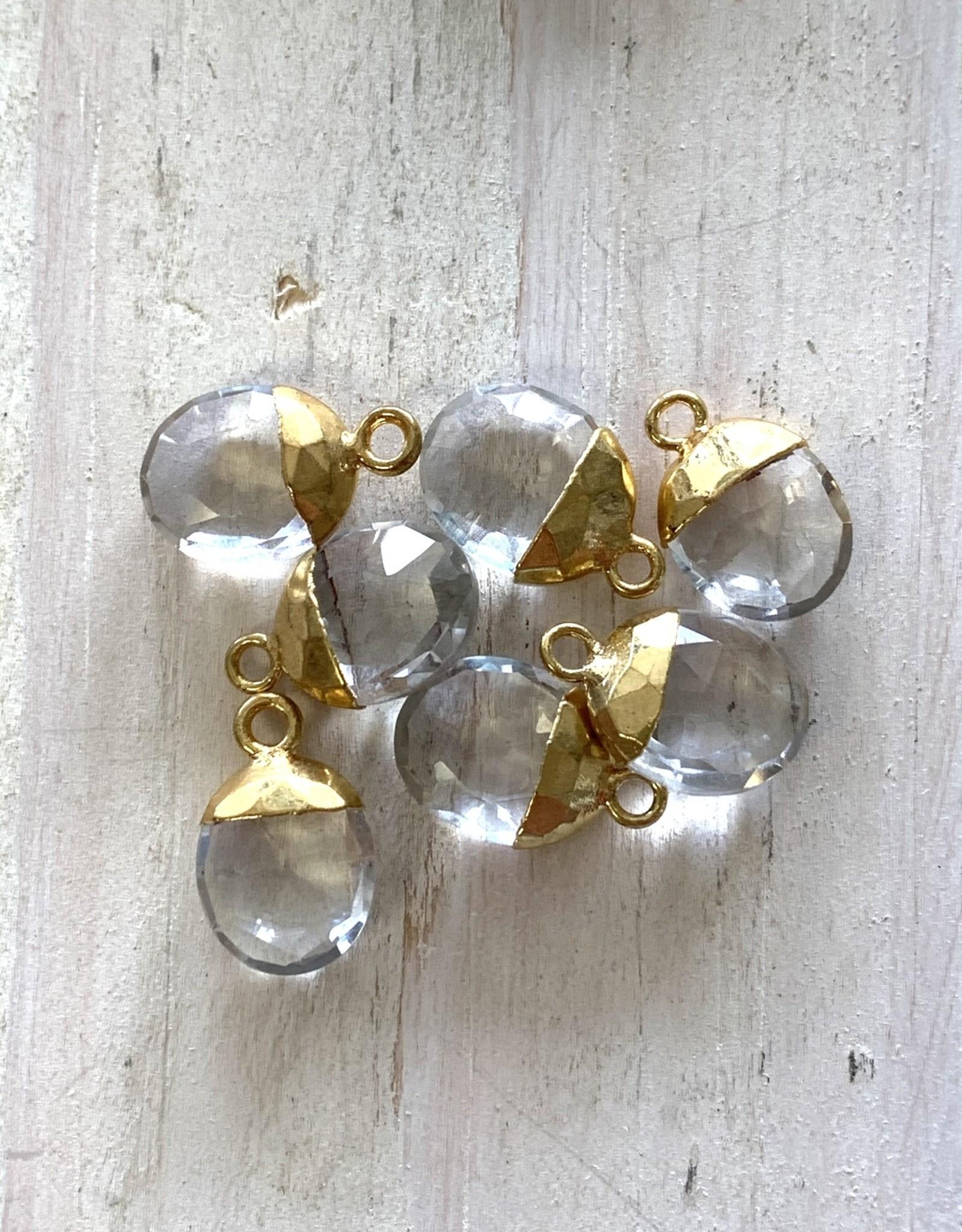 Crystal Quartz Oval Drops Gold