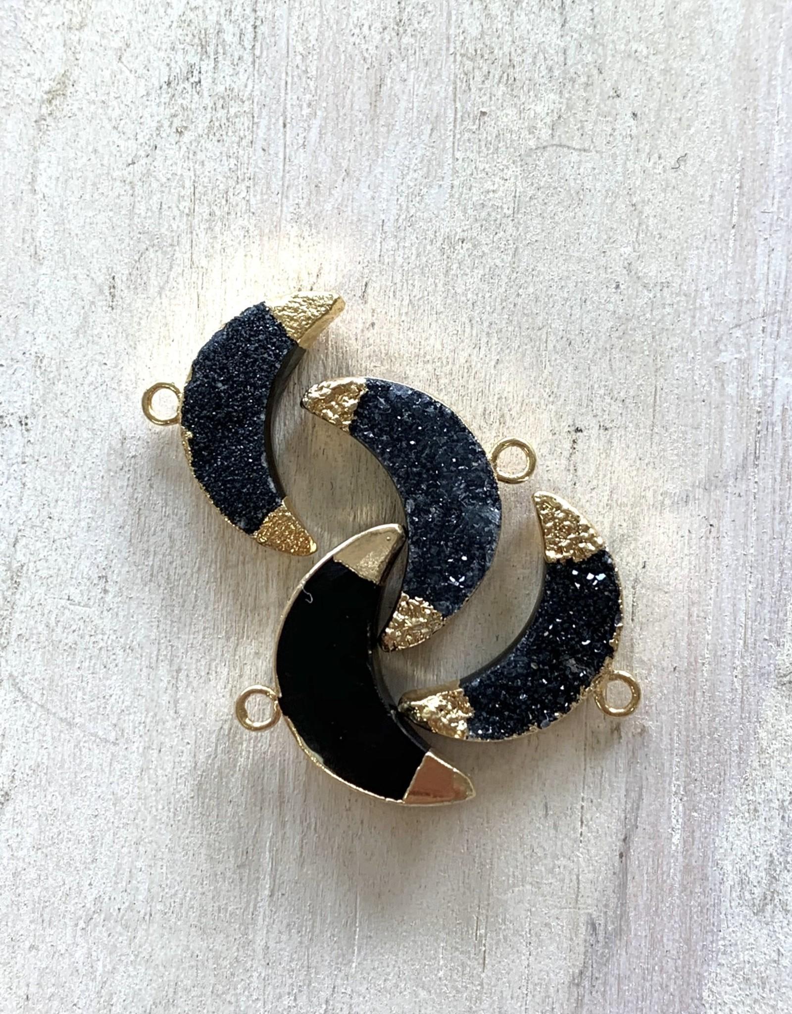 Black Druzy Crescents Gold