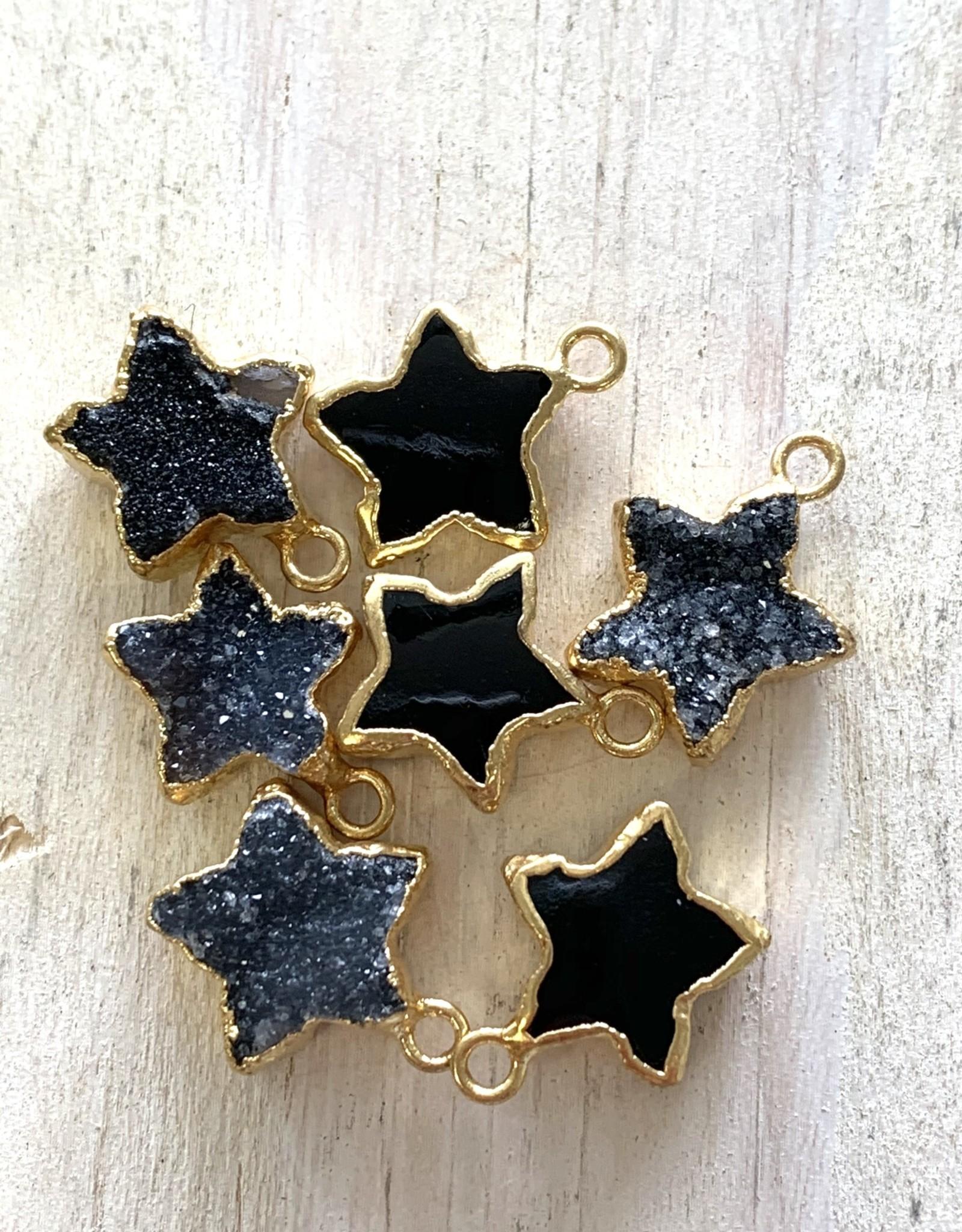 Black Druzy Star Gold