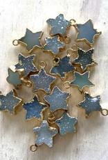 Blue Druzy Star Gold