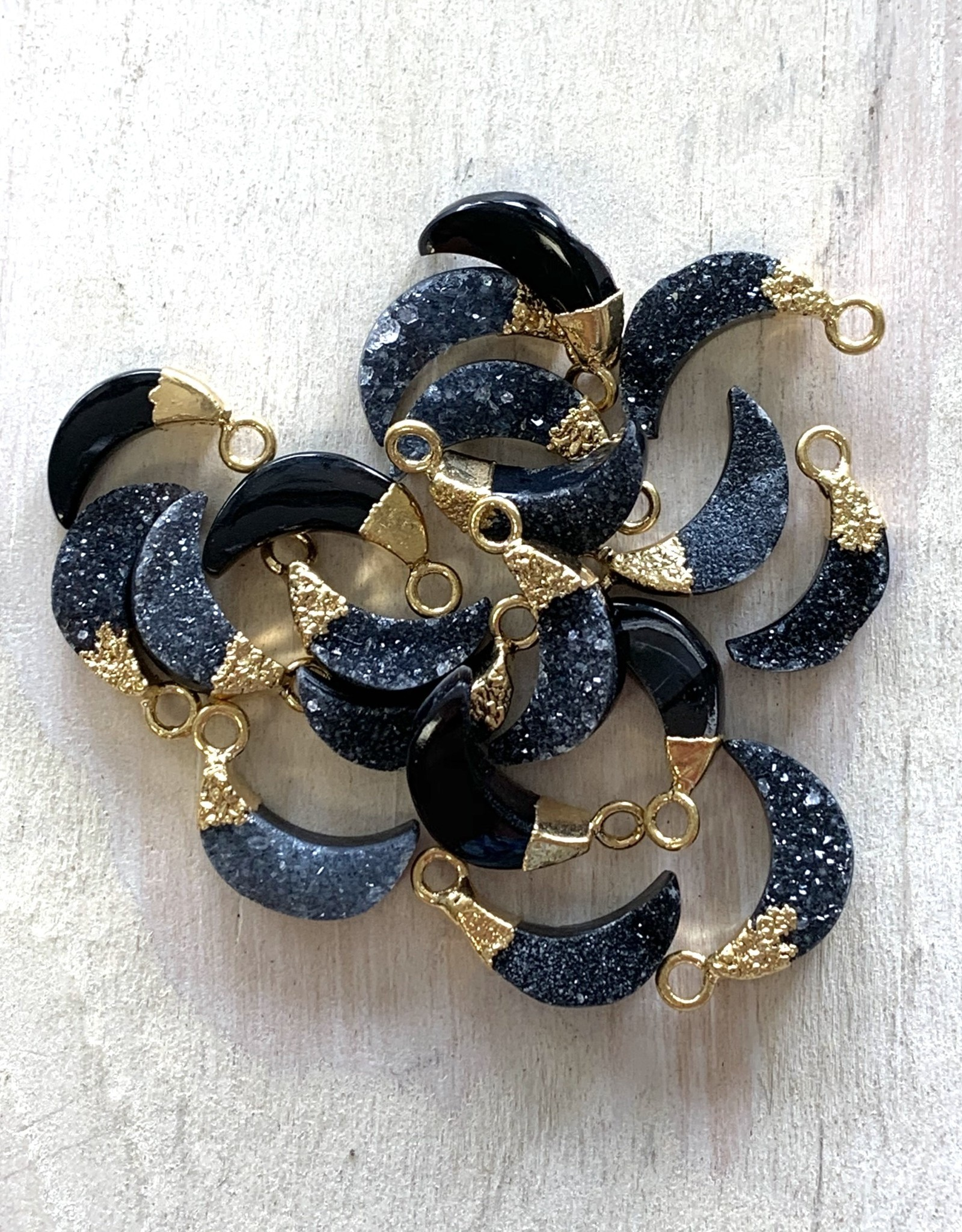 Black Druzy Mini Moons Gold