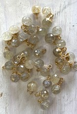 Golden Rutilated Quartz Round Drop Gold