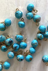 Turquoise Round Drop Gold