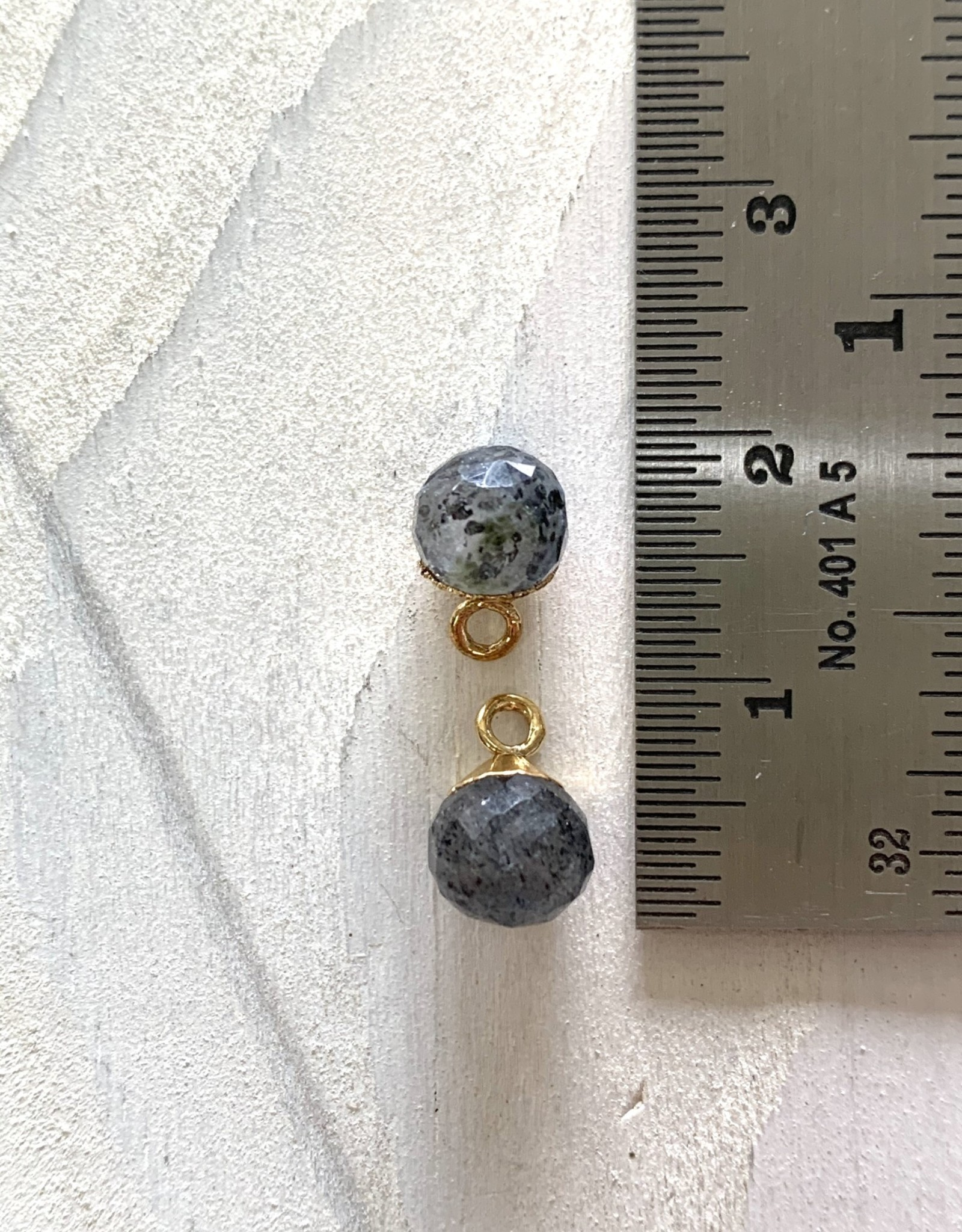 Rutilated Quartz Round Drop Gold