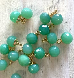 Chrysoprase Round Drop Gold