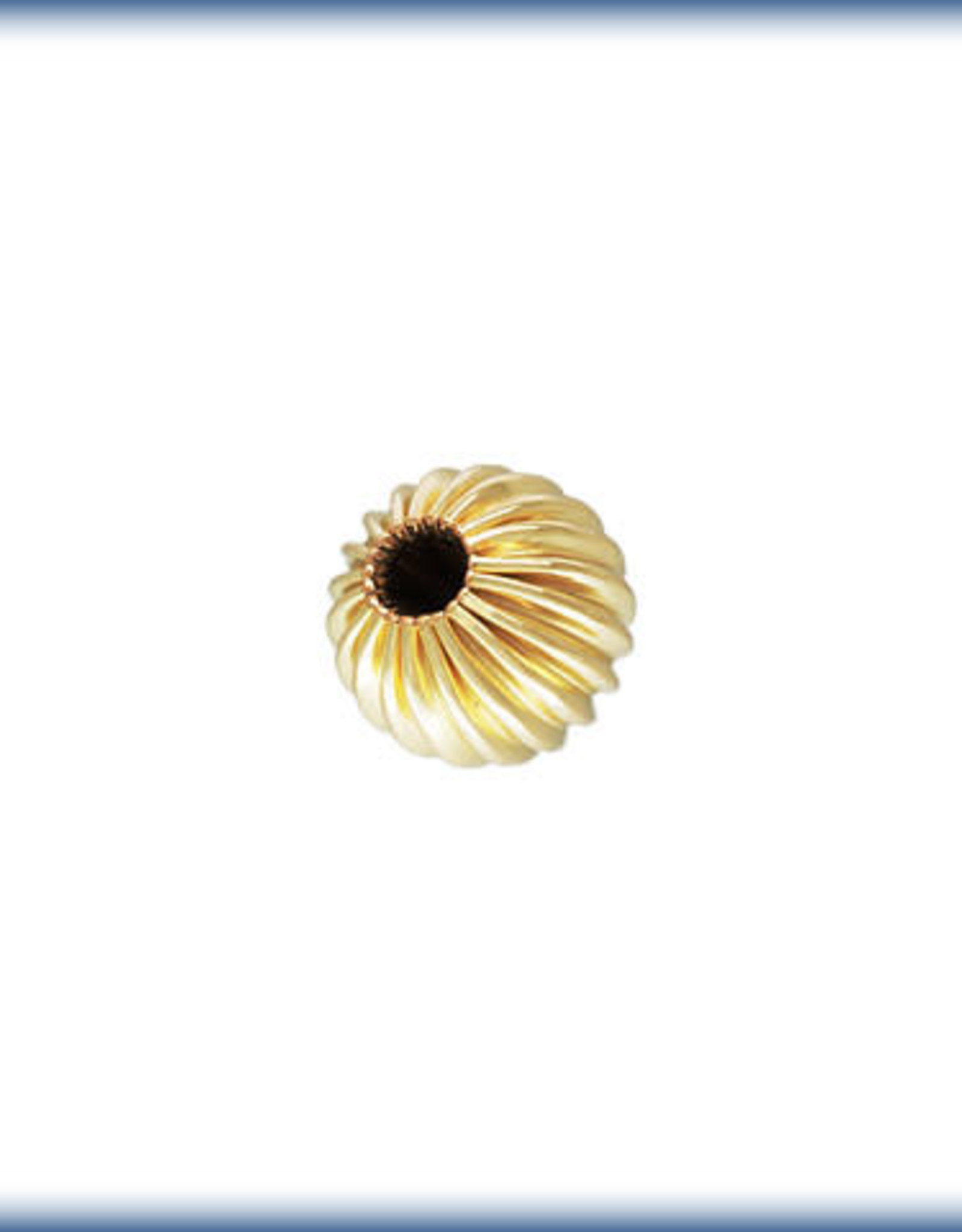 5mm Round Straight Corrugated Bead 14k Gold Filled Qty 6
