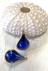 Glass Charm Gold Plated Cobalt ea