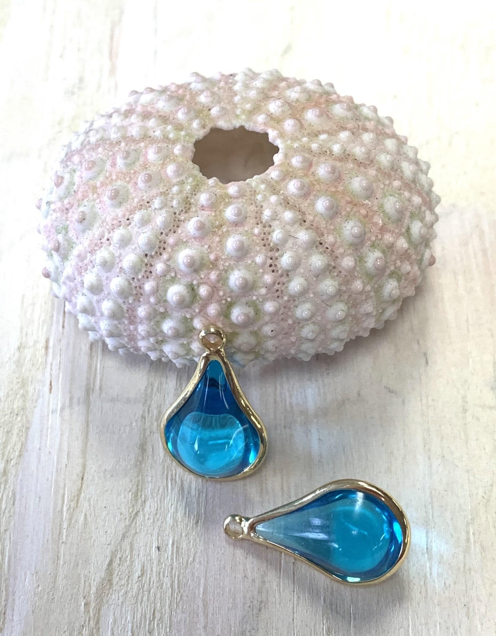 Glass Charm Gold Plated Aqua
