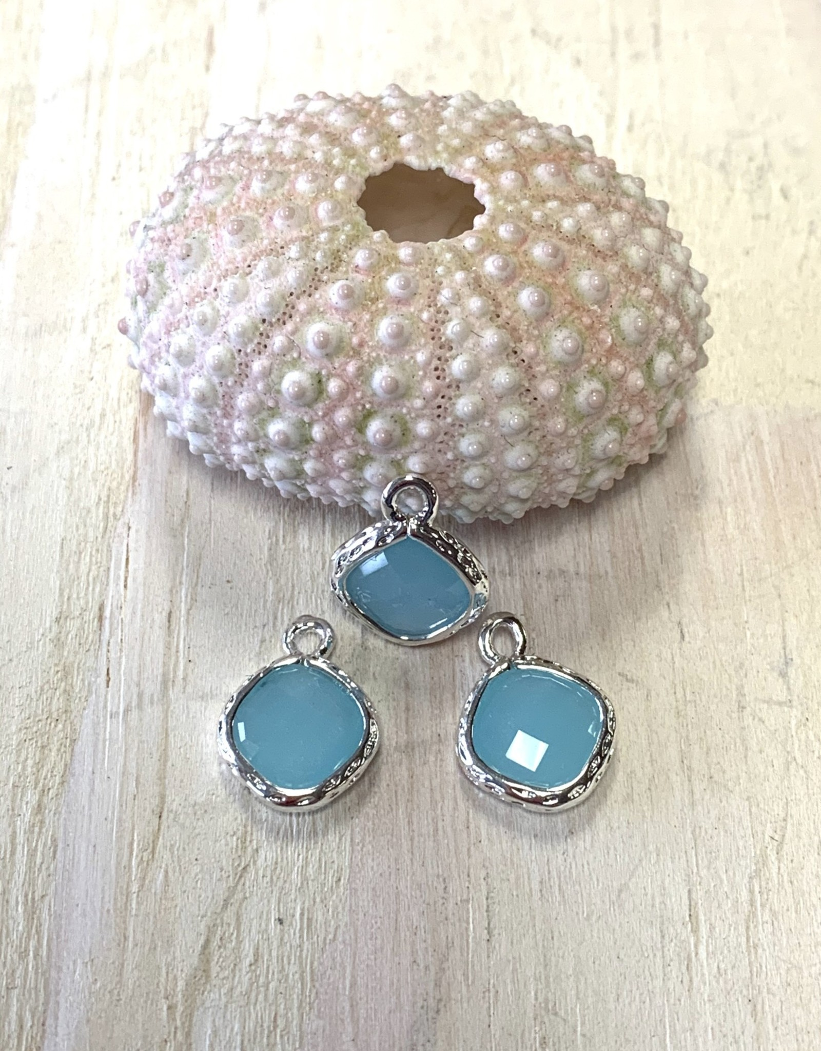 Glass Diamond Charm Silver Plated ea